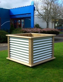 Nz Furniture Corrugated Wood Frame Planter Box